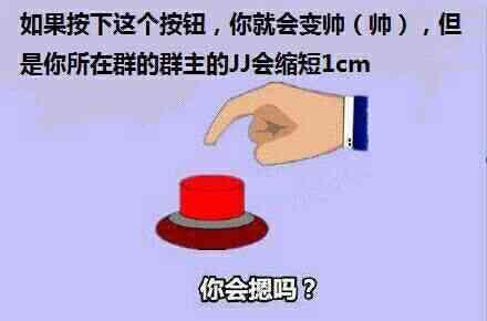 如果按下这个按钮,你就会变帅,但是你所在群的群主JJ会缩短1CM你会按吗?-i表情表情包