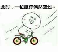 骑单车:此时,一个靓仔偶然路过-i表情表情包